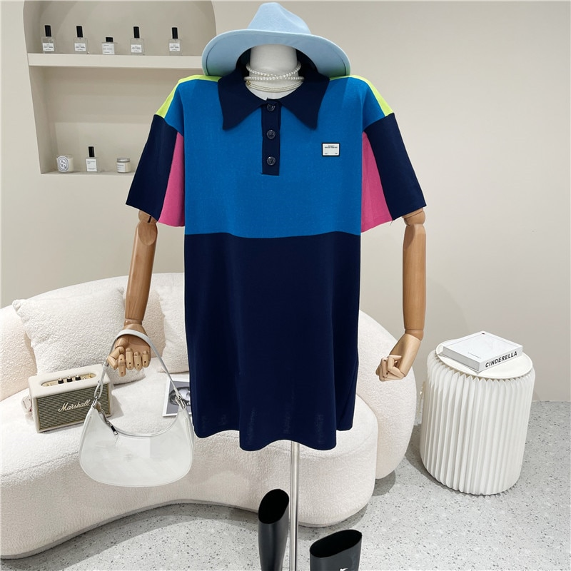 ملابس نسائية صيف 2021 موضة جديدة بولو الرقبة اللون مطابقة ins متوسطة طول محبوك تي شيرت