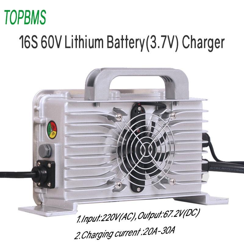 الليثيوم 60 فولت 16 ثانية شاحن المدخلات 220 فولت الناتج 67.2 فولت 20A 30A ل 16 خلية بطارية 3.7 فولت لوحة طاقة شمسية scالديك مخزن Engery رافعة شوكية ebike
