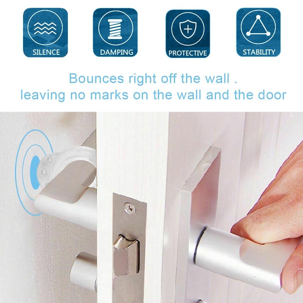 6 pçs maçaneta da porta buffer paredes e móveis proteger o botão de proteção transparente slicone maçaneta da porta buffer casa quarto gadget