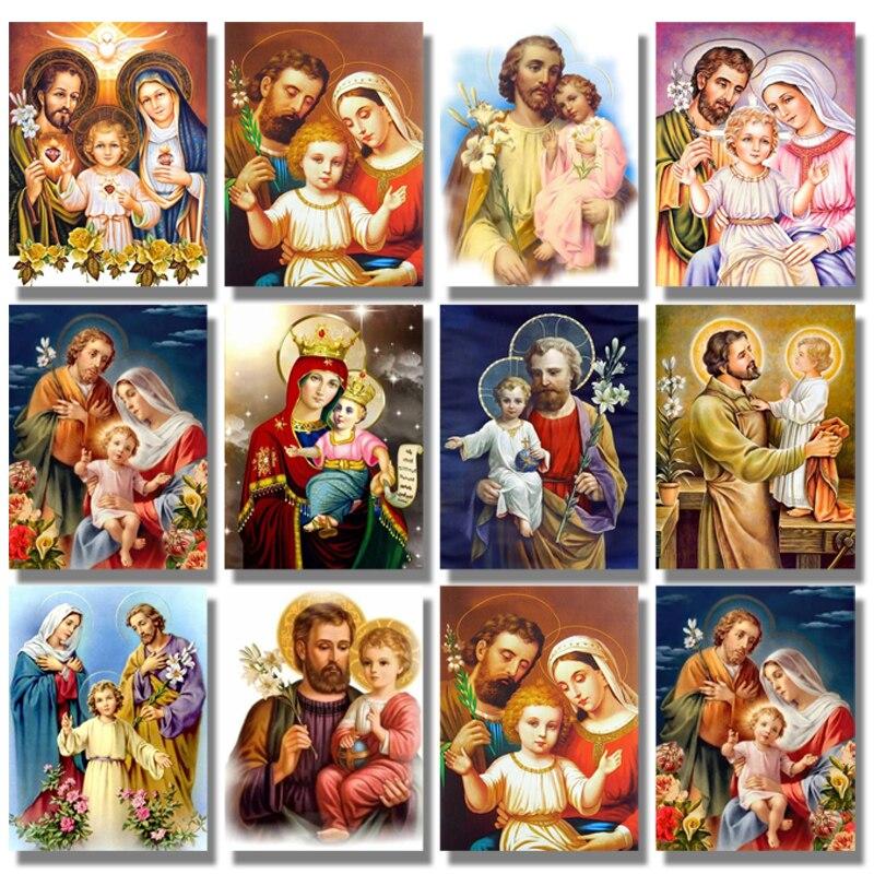 5d DIY Diamante Pintura Religião Ícones de Rodada Completa Broca de Diamante Bordado Imagem Mosaico Diamante Ponto Cruz Família Religião