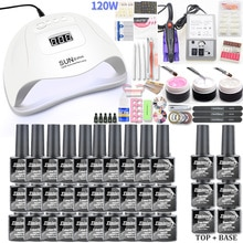 Manicure Nail Set 30 Pcs Gel Nail Polish Set Kit 120W Uv Lamp Set Elektrische Nail Boor Nail Art manicure Sets Nail Extension Kit