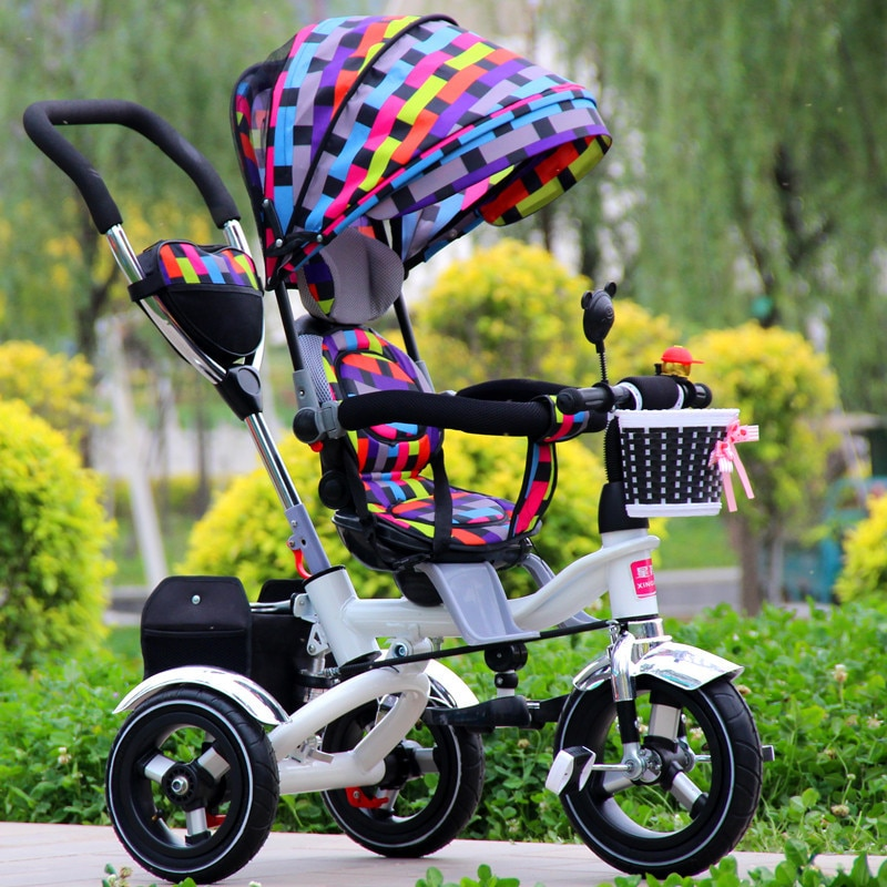 Convertible Handle Baby Tricycle Stroller Riding Bicycle Car Travel System Folding Sit Flat Lying Child Trike Baby Carriage enlarge