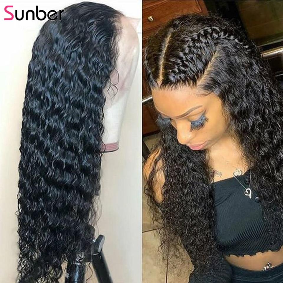Sunber pelo brasileño rizado sin pegamento Lace Frontal pelucas de cabello humano 180% densidad pre-desplumado peluca con malla Frontal Remy pelo 10-24 pulgadas