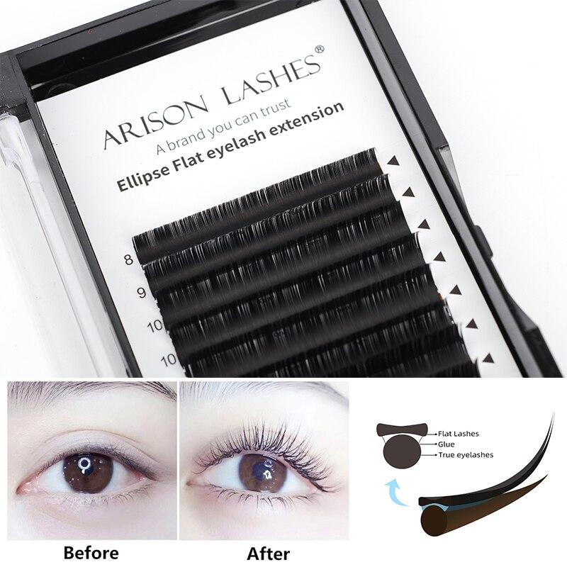 Arison Flat Ellipse Eyelash Extensions For Professionals Ellipse Lash Split Tip Profession Soft Silk Flat Lashes Wholesale
