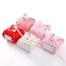 الأحمر الوردي الزفاف لصالح صندوق علب هدايا من الورق المقوى كعكة حقيبة رومانسية كاندي صندوق استحمام الطفل هدية عيد ميلاد أكياس لوازم الحفلات