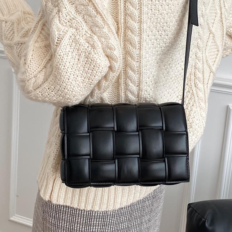 Women's Weave Flap Bags Square Crossbody Bag 2020 New Arrival Good Quality Pu Leather Plaid Female Shoulder Hand Bag Sac A Main