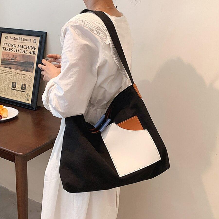Korea Large Capacity Canvas Shoulder Bags Women Designer Ladies Travel Tote Bag Shopper Fashion Candy Color Female Big Handbag