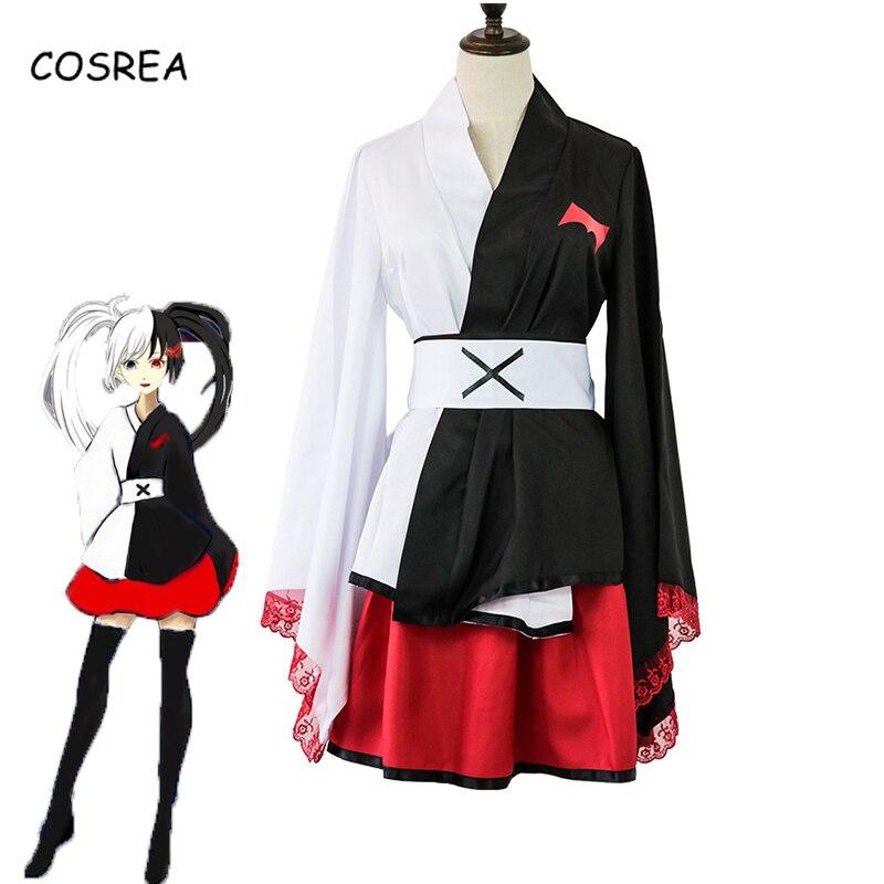 Disfraz de Anime Danganronpa Monokuma, disfraz de Pinafore, Kimono japonés de manga larga, ropa de mujer, uniforme, falda, peluca, Halloween