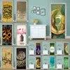 דבק עצמי בית תפאורה 3d דת האיסלאם מוסלמי דלת Sticke הדפסת אמנות עמיד למים נייר קיר מלתחה חידוש מדבקות תמונה