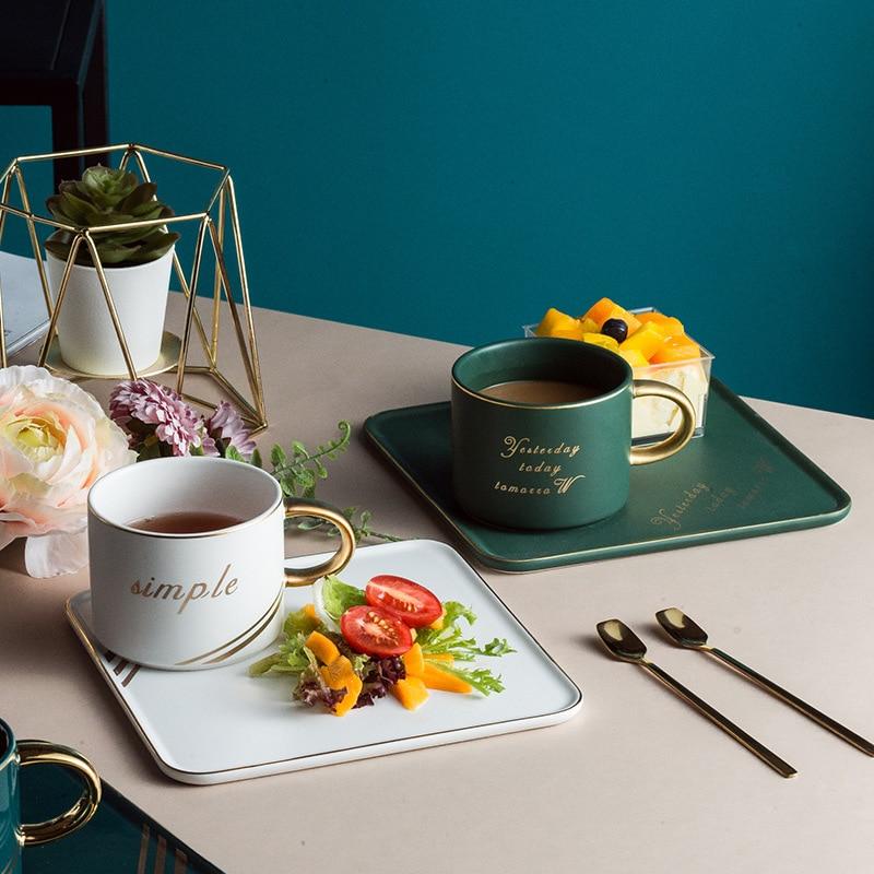 Nórdico lujo borde de oro de cerámica tazas de café platillo desayuno aperitivo Bandeja de postres plato tazón taza con cuchara de café