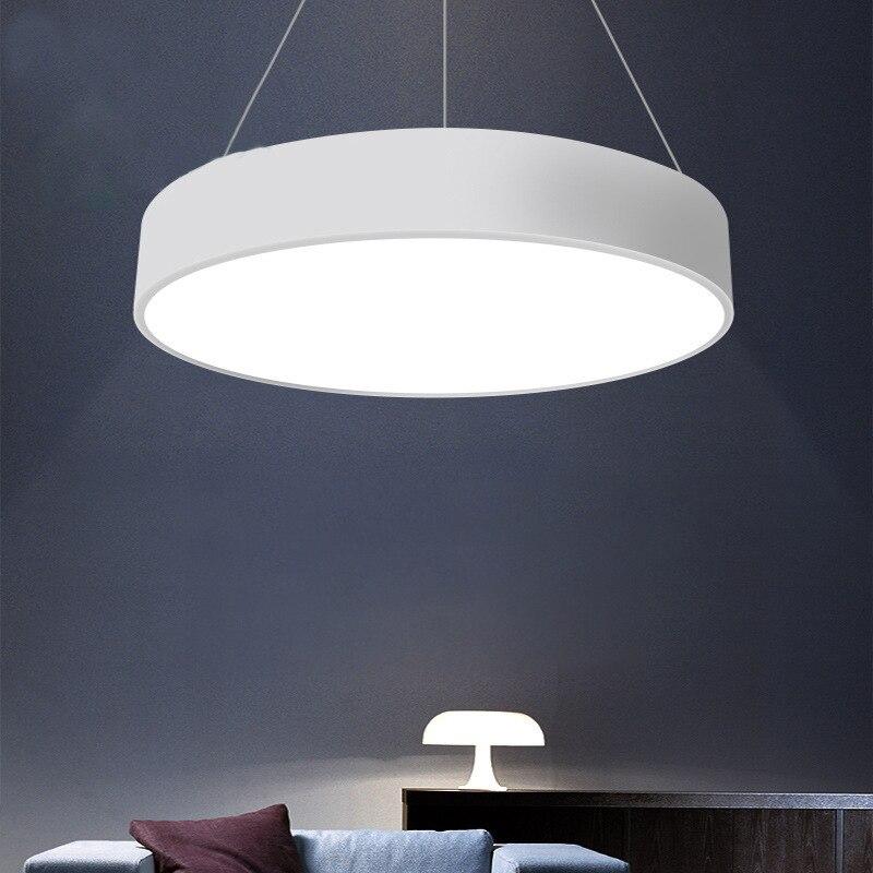 الحديثة بسيطة قلادة LED أضواء جولة 5 سنتيمتر رقيقة الاكريليك الحديد شنقا مصباح الطعام المعيشة غرفة كروم المنزل ديكور DropLights