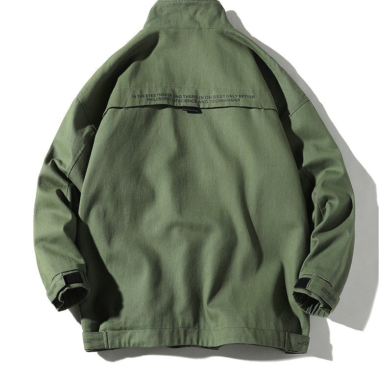 Autumn Cargo Jackets Men Streetwear Solid Color Jacket Hip Hop Long Sleeve Coat Pocket Windbreaker Male Bomber Jackets Men  - buy with discount