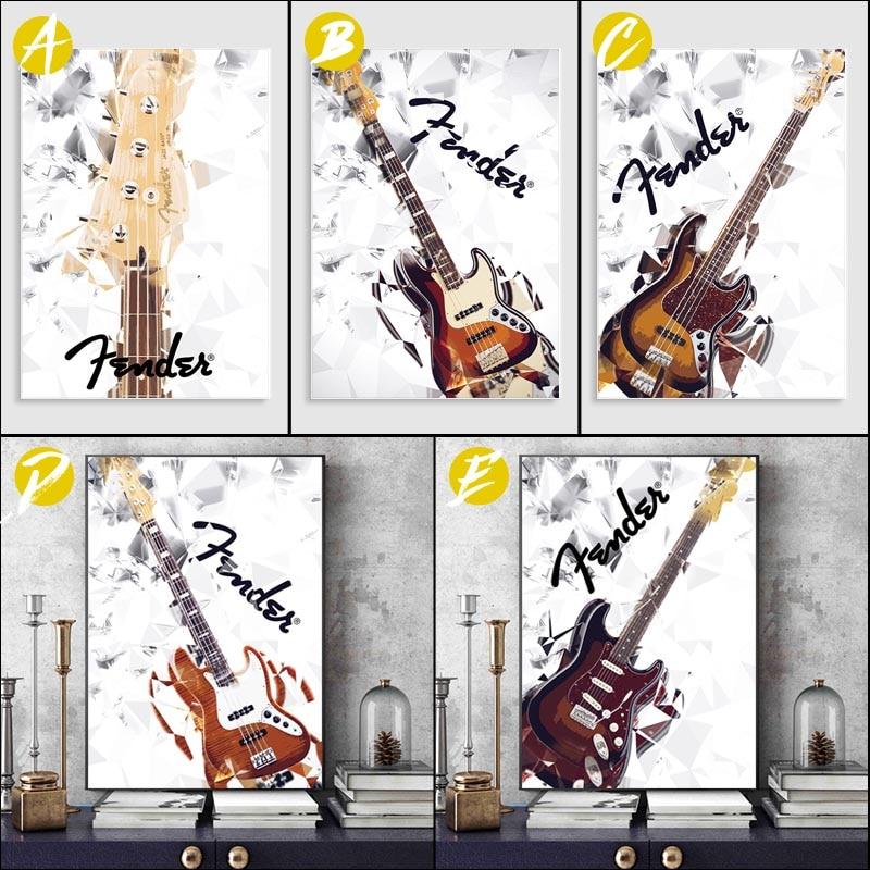 Stratocaster-Cuadro decorativo Modular de bajo para guardabarros de guitarra, arte de pared...