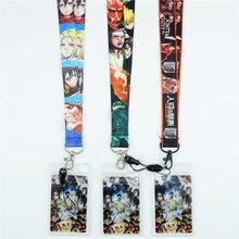Japan Anime Attack on Titan correas y cordones para el cuello Tarjeta de Identificación correa de teléfono móvil sujección de insignia y USB llavero de cuerda regalo Cosplay Otaku