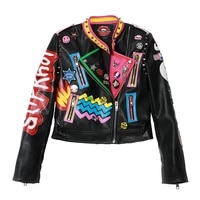 punk badge pu leather jacket women slim rivet short jackets black graffiti print ladies motorcycle coat