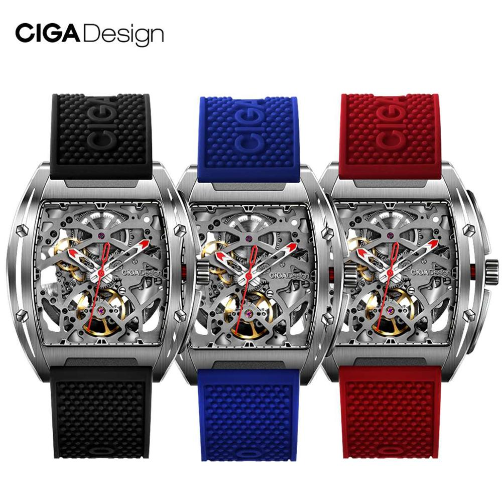 Nuevo reloj CIGA de diseño CIGA Serie Z reloj en forma de barril de doble cara hueco automático esqueleto mecánico reloj impermeable para hombres