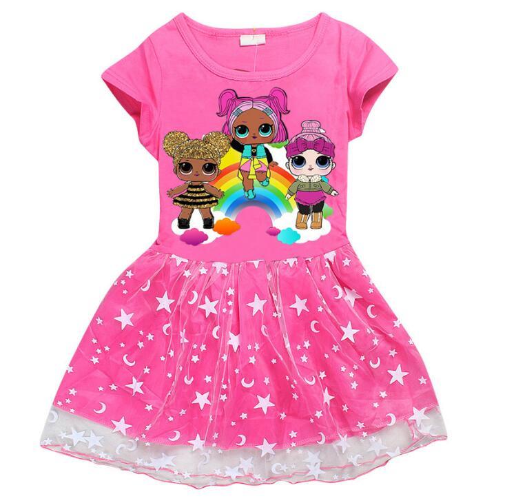 Lol/платье для девочек; одежда для маленьких детей; одежда для детей с героями мультфильмов; платье принцессы; детское платье с короткими рука...