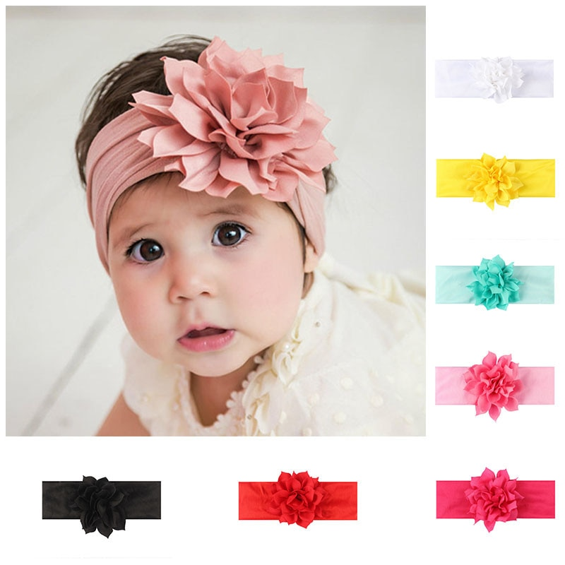 Lovely Baby Headband Turban Flower Newborn Baby Girl Headbands Elastic Kids Toddler Hair Band haarband Baby Hair Accessories