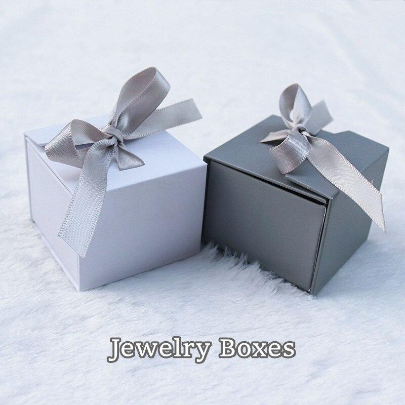 Cajas de joyería de papel Color gris blanco cinta de lazo anudado para regalo pendiente embalaje exhibidor organizador de joyas 1 ud.