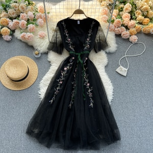 Fairy palace square collar wind horn sleeve temperament heavy embroidery printed velvet ribbon double gauze dress woman