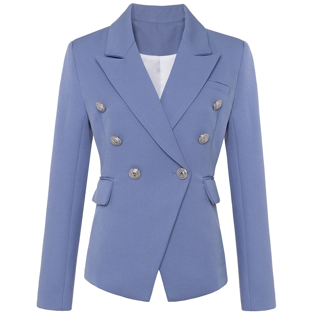 New Fashion 2021 Stylish Blazer Jacket Women's Silver Lion Buttons Double Breasted Blazer Outer Wear