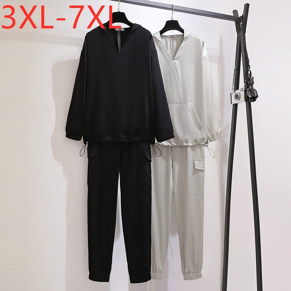 جديد السيدات ربيع الخريف حجم كبير النساء ملابس النساء فضفاضة عادية طويلة الأكمام غطاء رأس أسود و السراويل الطويلة قطعتين مجموعات 7XL