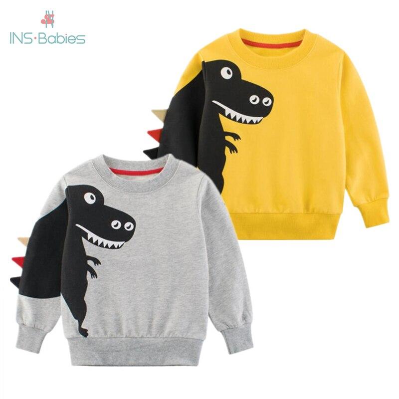 Meninos 2020 topo de manga longa roupas crianças menino menina roupas impressão dos desenhos animados criança dinossauro moda moletom primavera e outono