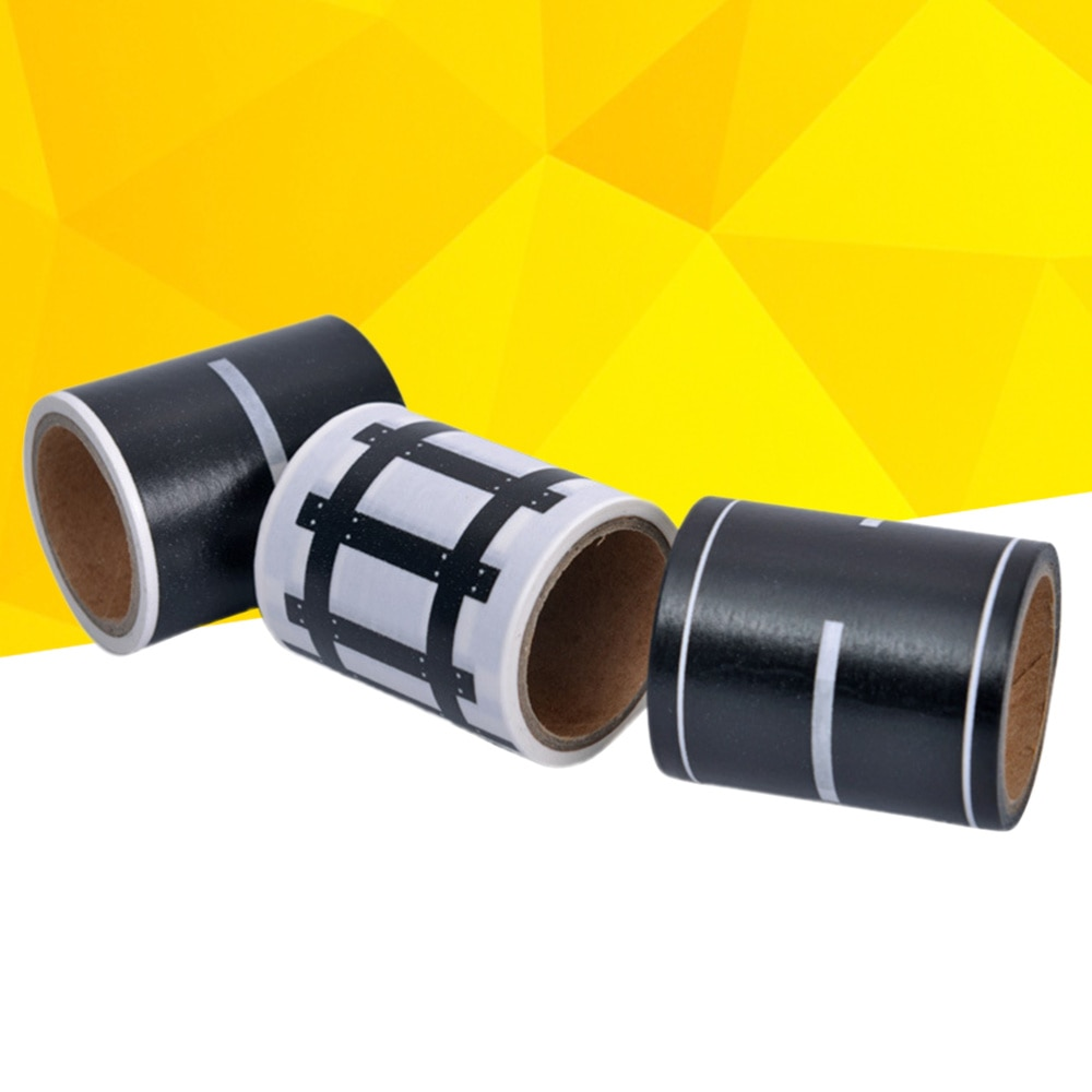 3pcs Road Play Tape Sets DIY Traffic Railway Play Stickers Rolls Adhesive Removable Tape for Kids Cars