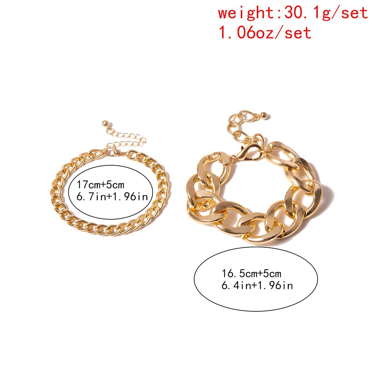 Купить с кэшбэком Ingemark 2 Pcs/Set Snake Lock Chain Bracelets Bangles Armband Femme Accesory Mujer Punk Thick Chain Bracelet Couple Jewelry 2019