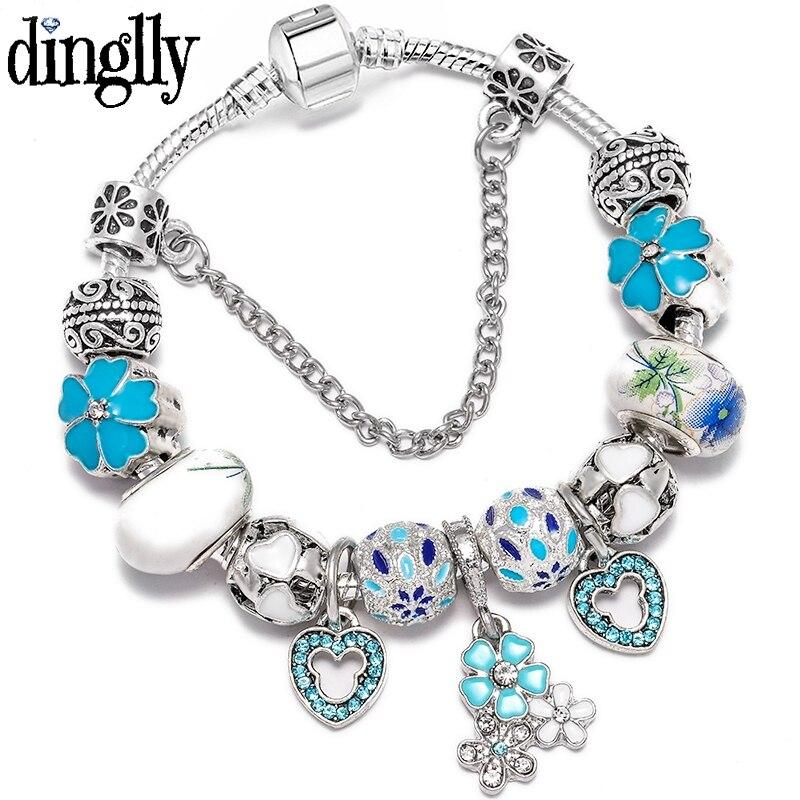 Color Cloisonne Magnolia Charm Bracelet & Bangle Original Chinese Style Ceramic Beads Bracelets For Women Men Jewelry