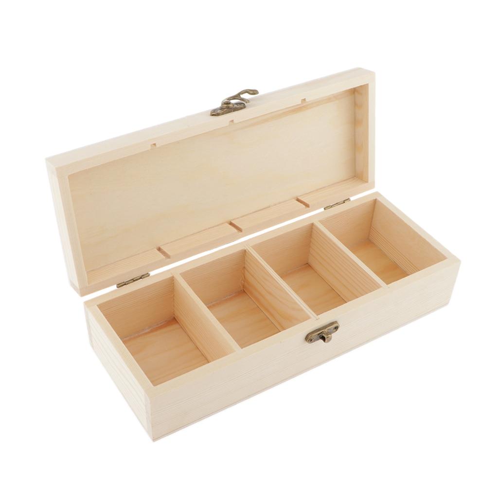Caja de almacenamiento de madera con 4 ranuras, caja de memoria DIY sin pintar para manualidades, regalos de recuerdos para familia, amigos, amantes