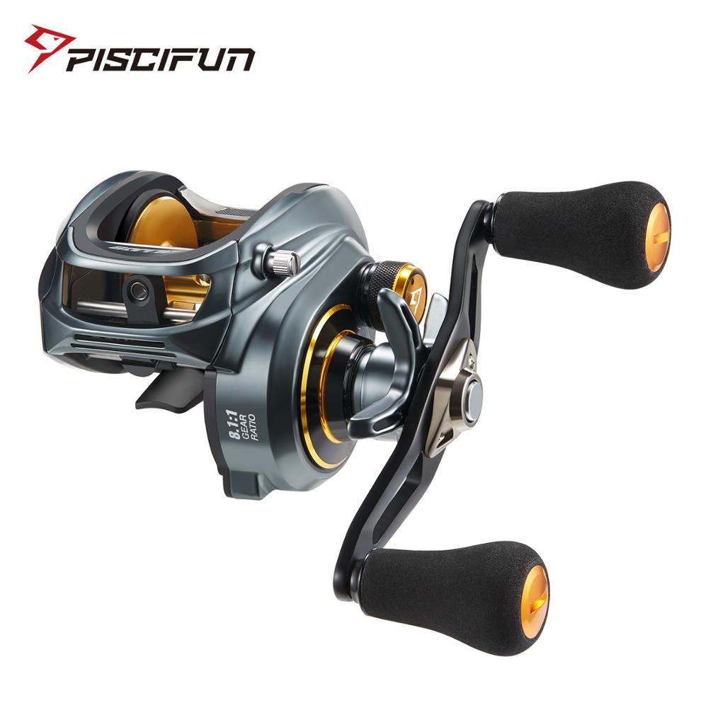 Piscifun Alijoz 300 Low Profile Baitcasting Fishing Reel 15KG Max Drag 8+1 Bearings Saltwater Casting Reel Power / Double Handle piscifun carbon x spinning reel fishing tackle 5 2 1 6 2 1 gear ratio light to 162g 11bb 15kg max drag saltwater fishing reel
