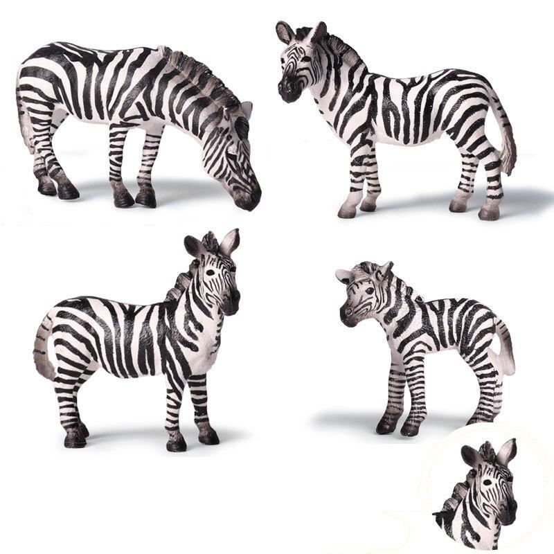 4 tipos de simulación cebra Animal figura coleccionable juguete figuras de acción animal de los niños de Juguetes