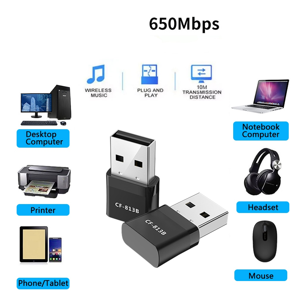 New 650Mbps Mini Wireless wifi Adapter Bluetooth4.2 USB dual band network card RTL8821CU 2.4+5.8G black WiFi adapter ac For PC enlarge