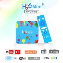 H96 Mini h6 Android 9,0 Smart TV BOX 4 Гб 128 ГБ четырехъядерный процессор Netflix Youtube Google Play Store H96mini 6K Dual Wifi телеприставка