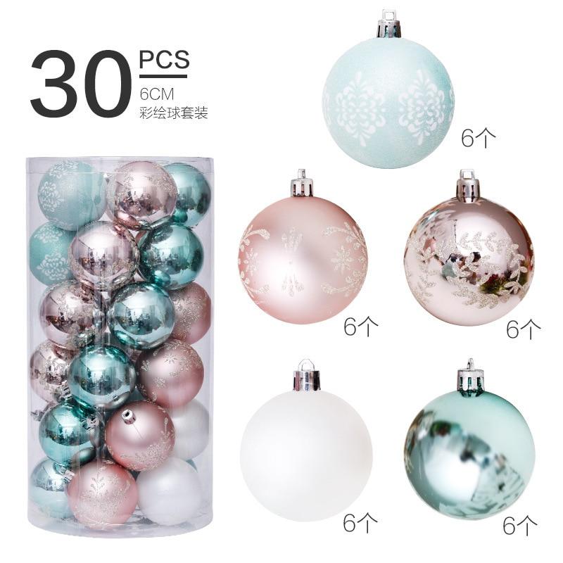 Bolas de navidad de 6cm y 30 Uds., adornos navideños para el...