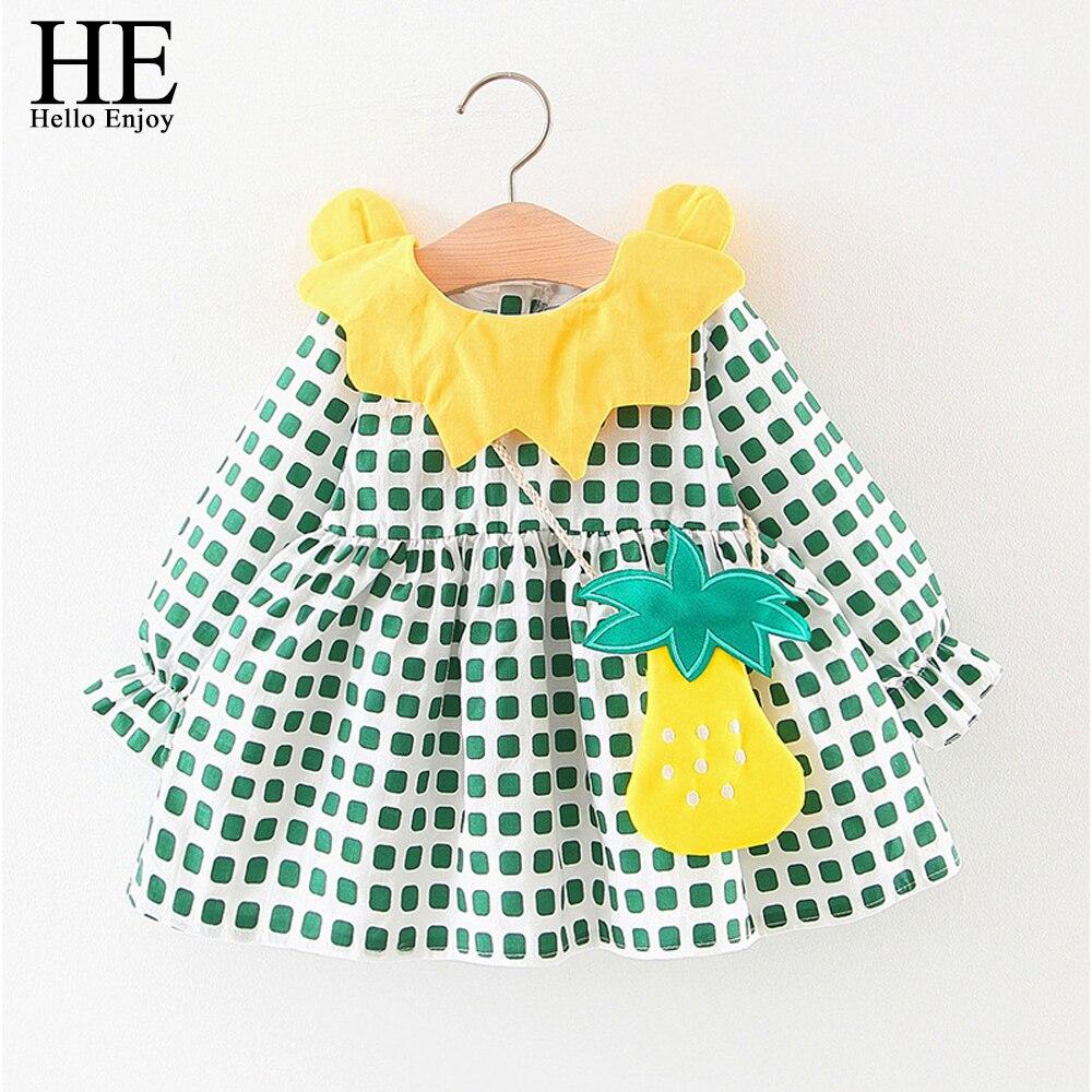 On Hello cieszyć jesień dziecko dziewczyny suknie z długim rękawem lalka kołnierz chusta druku bawełna księżniczka Tutu dla dzieci Dress vestidos z torba