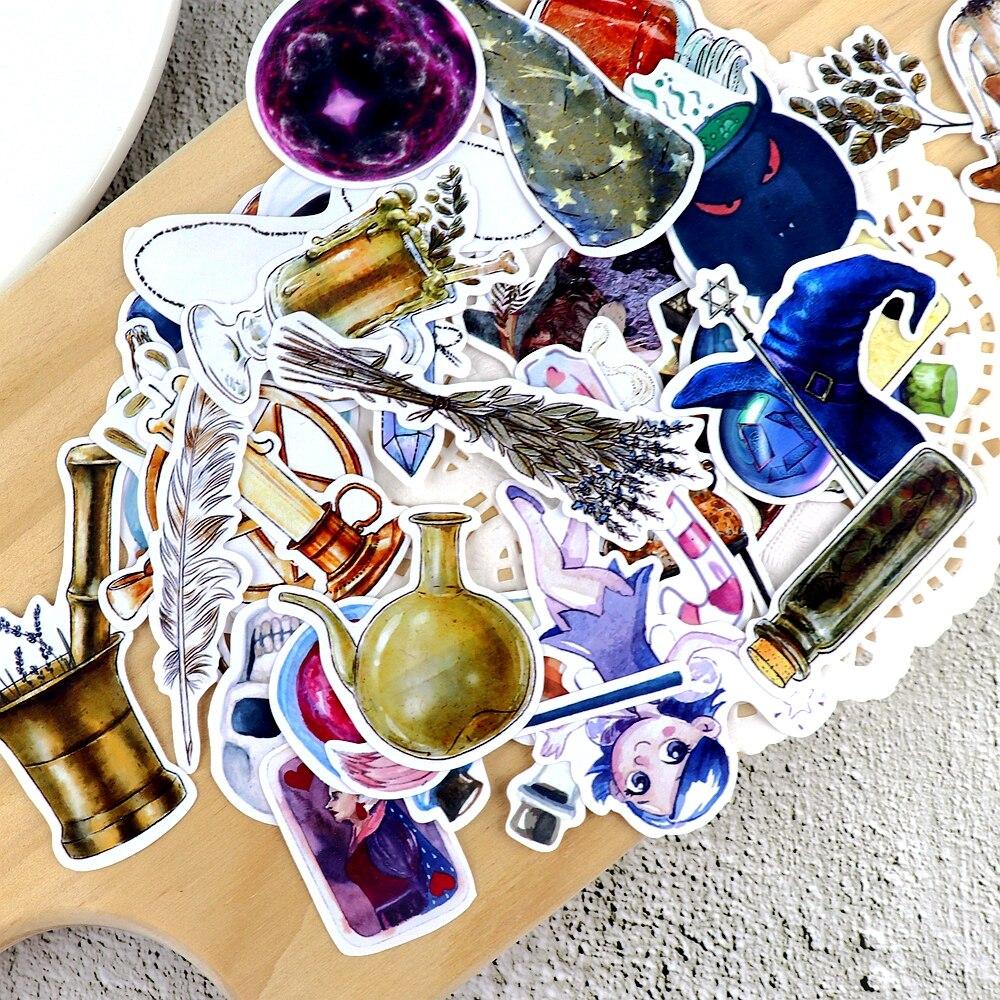 35 Uds. Pegatinas de Planificador de botellas mágicas para dibujar a mano, artesanías, álbumes de recortes, papel fino decorativo, pegatinas de mago, papelería