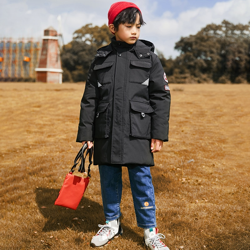 Down Jacket For Boy Winter Set Kids Children's Clothing 10 Years Old Outerwear Parkas Thickening Medium And Long Foreign Style enlarge