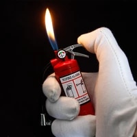 creative fire extinguisher lighters jet torch turbo butane windproof lighter with flashlight cigarette smoking accesories