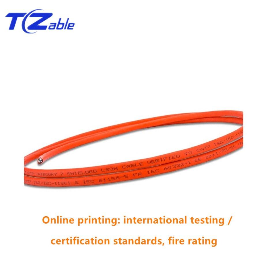 Cable de red Ethernet Cat 7 4 pares trenzados 8 núcleo LSZH 10G 600MHz naranja Cat7 SFTP Cable de instalación 23AWG 0,57mm cables de cobre