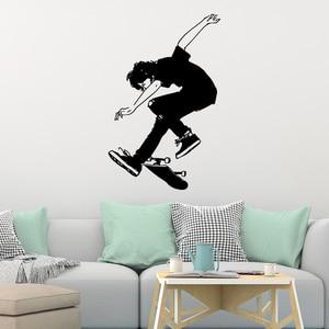 Настенные наклейки со скейтбордом для детской комнаты, Декор, наклейки, постер, для мальчиков, для катания на коньках, для дома, украшение ин...