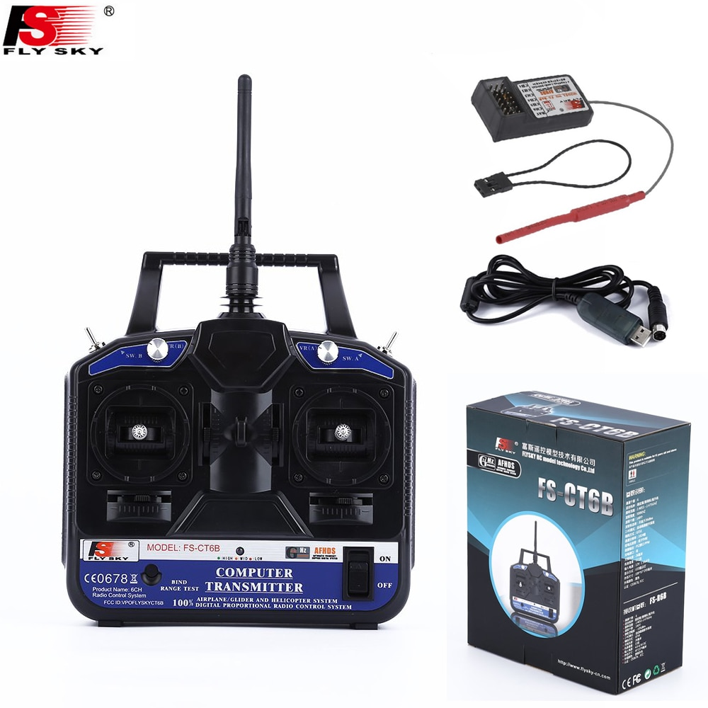 Flysky FS-CT6B alta precisão 2.4g ct6b 6ch transmissor com FS-R6B kit receptor para rc helicóptero corrida zangão