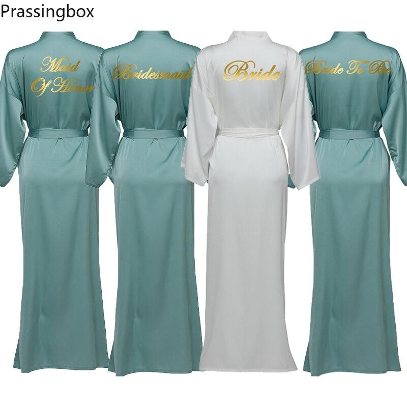 Шелковые атласные длинные халаты с длинным рукавом Dusty Green на заказ, халаты подружки невесты, женские длинные свадебные халаты и домашняя од...