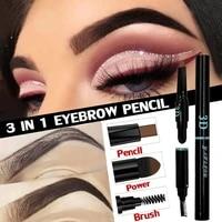 3 in 1 matte long lasting eyebrow pencil natural eyebrow brush set sexy and charming eye makeup female eye beauty makeup tool