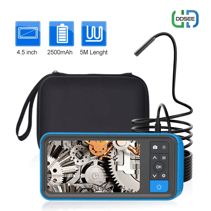 Promo 1080P HD Endoscope Camera MS450 Dual Lens Borescope with 4.5″IPS Screen 8 mm Borescope Sewer Camera with 32GB Card Carrying Case