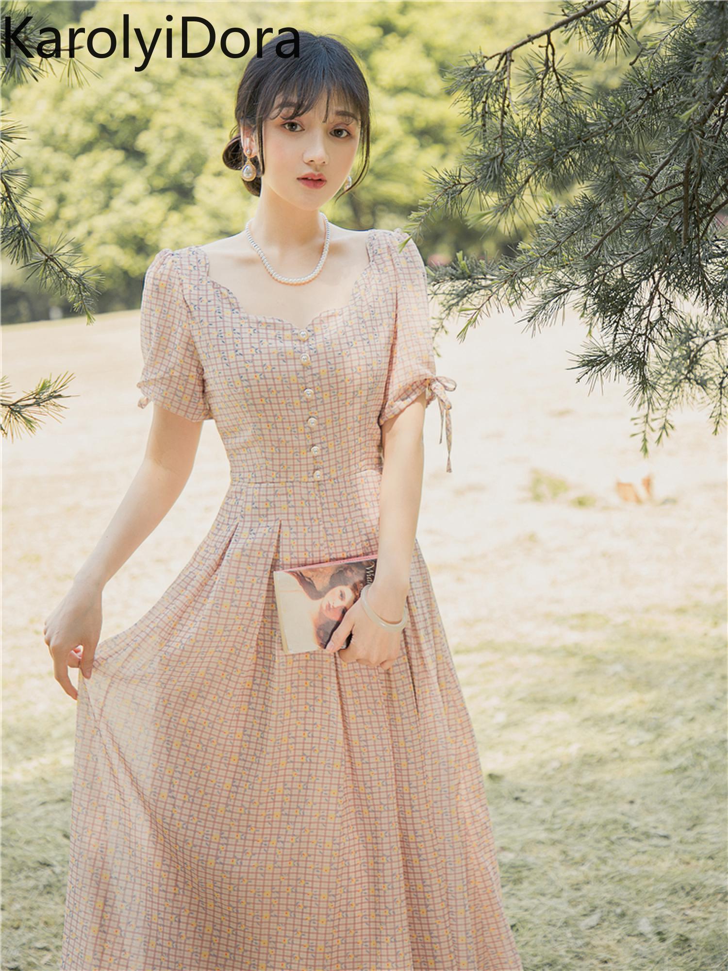 Vestido de mujer, novedad de verano 2020, estimado dulce Naranjo, cuello de pétalo literario, vestido a cuadros pequeño retro