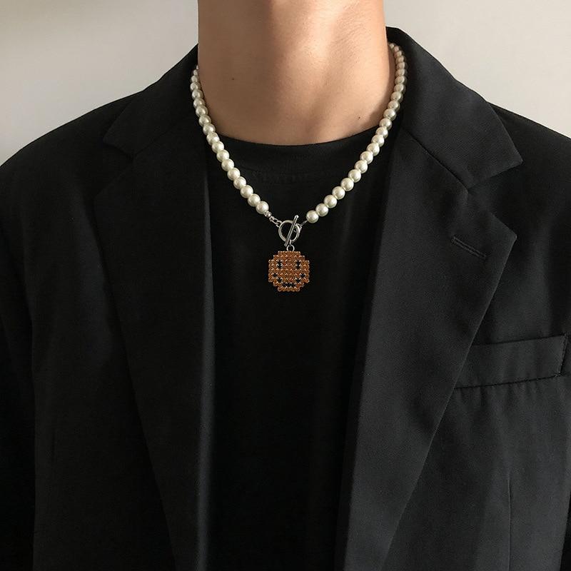 Новое креативное ожерелье с кулоном в виде милой улыбки, лучшая модная цепочка с жемчугом, чокер, ювелирное изделие для вечеринки для женщин, модные подарки дружбы, девушки