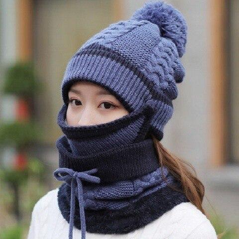 Зимняя женская вязаная шапка новая молодежная Зимняя Толстая кашемировая теплая Осенняя шерстяная шапка с шариком три комплекта