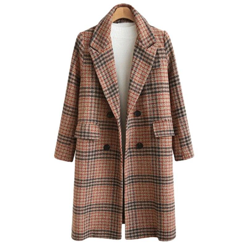 Abrigo de lana a cuadros de alta calidad abrigo largo de moda...